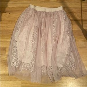 Blush, layered skirt